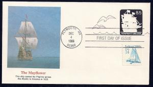 UNITED STATES FDC 8.5¢ The Mayflower COMBO 1986 Fleetwood