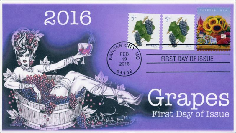 2016, Grapes, 5 cent, FDC, BW Cancel 16-058