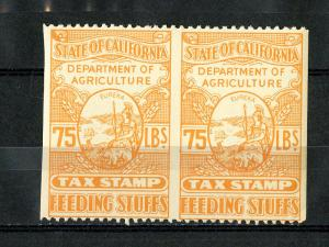 US Stamps California Tax NH Revenue Early Tax Imperf Between Pair