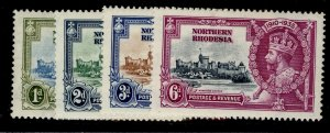 NORTHERN RHODESIA GV SG18-21, SILVER JUBILEE set, LH MINT. Cat £19.