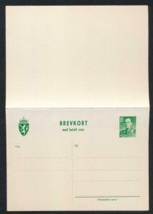 NORWAY Mi. P119 POSTAL STATIONERY POSTAL CARD 25o+25o PD REPLY GREEN