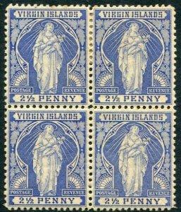 BRITISH VIRGIN ISLANDS-1899 2½d Ultramarine Mint Bl of 4 Lower Stamps UNM Sg 45