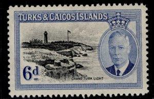 TURKS & CAICOS ISLANDS GVI SG228, 6d black & blue  ., M MINT.