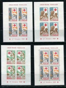 Togo 1959 Sc B12a-14a Souvenir Sheet Perf+Imperf Red Cross MNH 6237