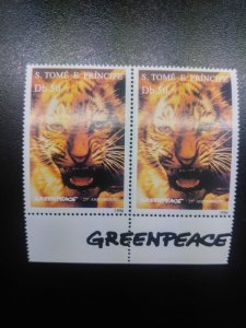 O - r) 1996 SAO TOME AND PRINCIPE, TIGER - GREENPEACE - SC 1239 50d, MNH