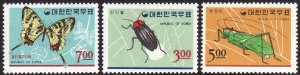 1966 Korea Insects complete set MLMH Sc# 499 500 501 CV $8.00
