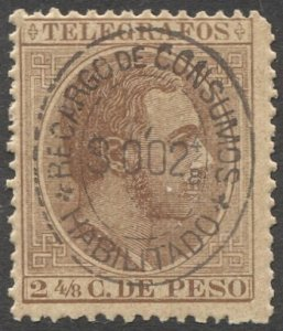 PHILIPPINES 1889  2-4/8c Telegraph stamp with 2-4/8c Ovpt MNH F-VF