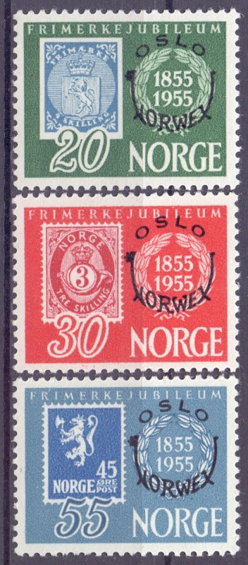 Norway. 1955. 393-95. Stamp on stamp. MNH.