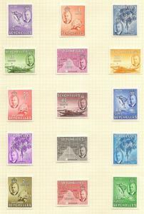 Seychelles 1952 Definitive Set SG158-172 Fine Used Cat£90