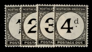 NORTHERN RHODESIA GV SG D1-D4, complete set, LH MINT. Cat £23.
