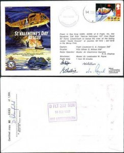 RD10a St. Valentones Day Rescue Signed by all 4 Members of The Sea King Crew