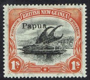 PAPUA 1907 LAKATOI OVERPRINTED SMALL PAPUA 1/- VERTICAL WMK