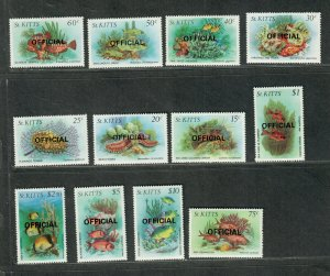 St. Kitts Sc#O29-O40 M/NH/VF, Fish-Officials, Cv. $37.55