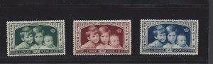 Belgium, B163-B165, Child Welfare Society Semi-Postal Singles, MNH