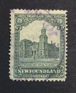 MOMEN: NEWFOUNDLAND #177 1928 USED **thin** £70 LOT #7009