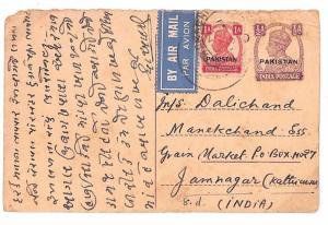 C84 1948 EARLY PAKISTAN STATIONERY India KGVI Overprint Postcard Uprated Airmail