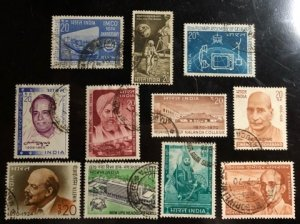 India Scott#501, 503, 508-516 VF Used Group 11 stamps Cat. $5.90
