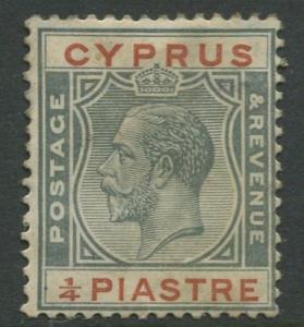 Cyprus - Scott 89 - KGV Definitive Issue- 1924 - Mint - Single 1/4pi Stamp