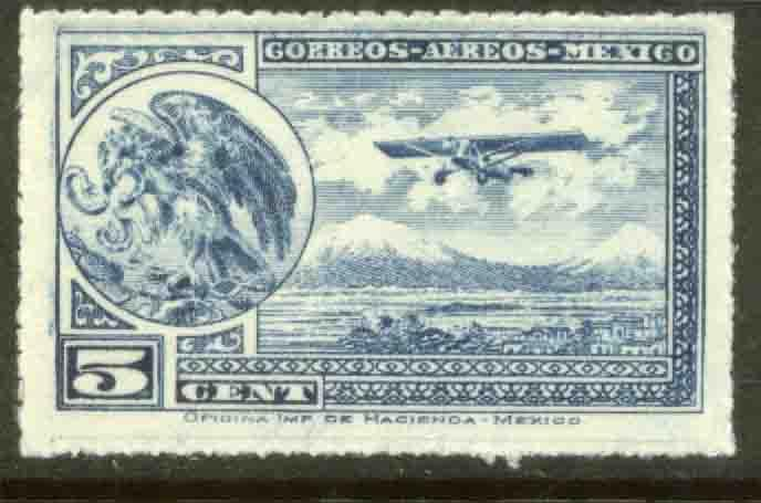 MEXICO C20 5cts Early Air Mail Plane and coat of arms MNH