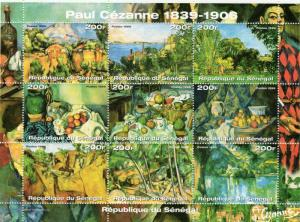 Senegal 1999 Sc#1414 Paintings by Paul Cezanne Sheetlet (9) Perforated MNH
