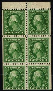 Scott #462a VF - 1c Green - Washington - Booklet pane of 6 - OG HM  - 1916