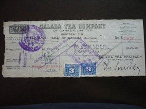 Canada - Revenue - Excise Tax Stamps on a Time Draft