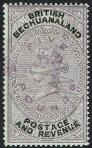 BECHUANALAND 1888 QV 5 POUNDS FISCAL USED