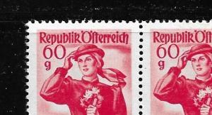 Austria 532 1948-52 60g Costumes MNH pair left stamp no thub variety (BB)