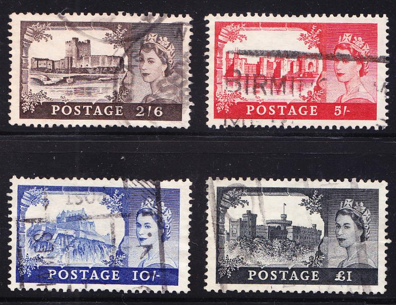 Great Britain QEII Castles High Values VF/used(o)