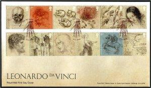 HERRICKSTAMP GREAT BRITAIN Sc.# 3803-14 Leonardo da Vinci FDC - Windsor