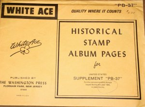 1985 Brand new White Ace pages for US Plate blocks. Supplement # PB37