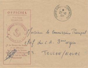 France Military Free Mail 1971 Porte-Avions Clemenceau to Toulon with Porte-A...