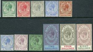 GIBRALTAR-1921-27  A mounted mint set to 8/-, 8/- has corner crease Sg 89-101