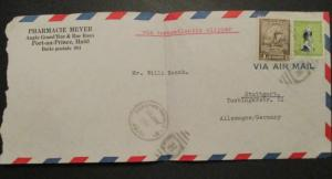 1954 Port-au-Prince Haiti to Allemagne Germany Pharmacie Meyer Air Mail Cover