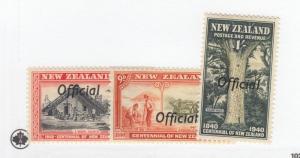 NEW ZEALAND # O84-O86 VF-MH OFFICIALS CAT VALUE $55.25