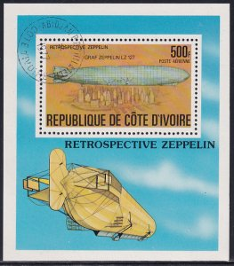 Ivory Coast 1977 Sc C63 Graf Zeppelin LZ 127 over New York City Stamp SS CTO NH