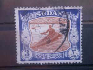 SUDAN, 1951, used 3p, Ambatch canoe Scott 106