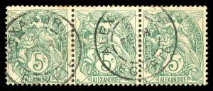 French Offices Abroad - Alexandria 20 Used Strip of 3