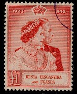 KENYA UGANDA TANGANYIKA GVI SG158, £1 scarlet, USED. Cat £70.