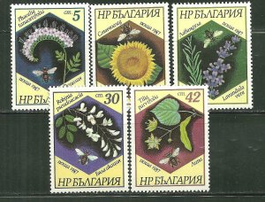 Bulgaria MNH 3266-70 Bees & Flowers