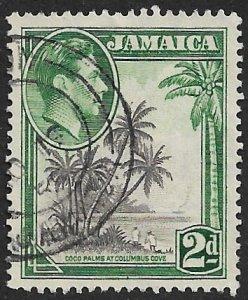 JAMAICA 1938-51 KGVI 2d COCO PALMS Pictorial P. 12 1/2x13 Scott No. 119b VFU