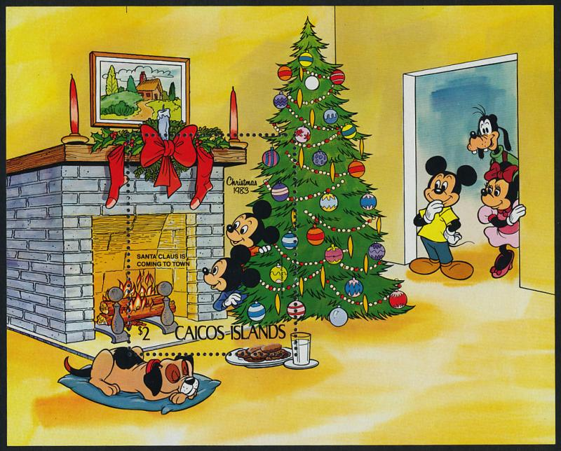 Caicos Islands 31 MNH Disney, Christmas Tree, Dog