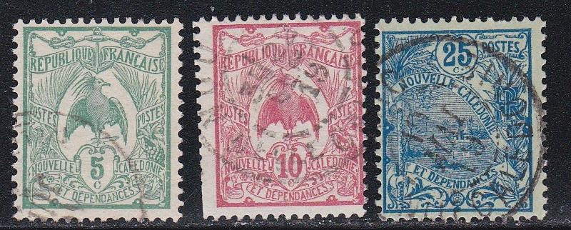 New Caledonia # 91, 93 & 98, Kagu & Landscape, Used, 1/3 Cat.