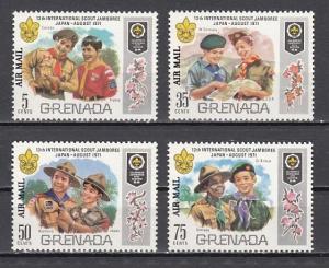 Grenada, Scott cat. C23-C26. Scout Jamboree issue o/printed AIRMAIL.  LH