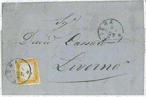 19228  ANTICHI STATI : SARDEGNA - BUSTA da SIENA a  LIVORNO 1862