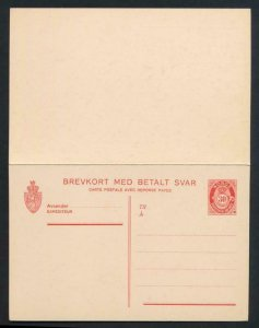 NORWAY Mi. P68 POSTAL STATIONERY postal CARD 30o+30o RED PAID REPLY
