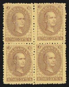 SARAWAK 1869 Brooke 3c brown on yellow block (right pane pos.41, 42, 51 & 52).