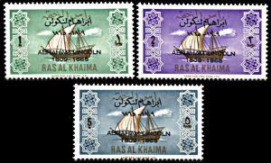 Ras al Khaima Michel 24-26, MNH, Death Centennial of Abraham Lincoln overprint