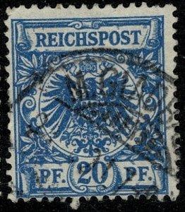 GERMANY 1889-1900 20pf DULL BLUE SG49 USED (VFU)  P.13.5 x 14.5 VF