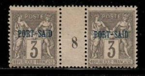 French Offices in Port Said Scott 3 Mint hinged Millesime pair #8 (CV 35 Euros)